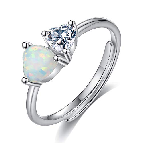 VIKI LYNN Created Opal Double Heart Ring for Women Sterling Silver Adjustable Promise Ring Double Created Opal Ring