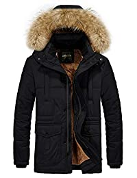 RongYue Men's Winter Thicken Coat Faux Fur Lined Quilted Jacket with Removable Hood