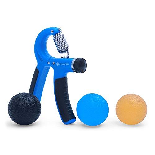 """Premium Handtrainer """"Strong Grip"""" von Sportastisch :: 3 hochwertige Stressbälle im Set:: einstellbare Federgriffhantel :: in geprüfter Qualität :: verschiedene Härtegrade :: ideal für Kletterer /Bodybuilder / bei Stress/ Rheuma / nach Schlaganfall:: optimal für Handtraining / Unterarmtraining / Fingertraining :: INKLUSIVE E-book """"Handtraining"""" :: inklusive 3 Jahren Sportastisch Produktgarantie"""