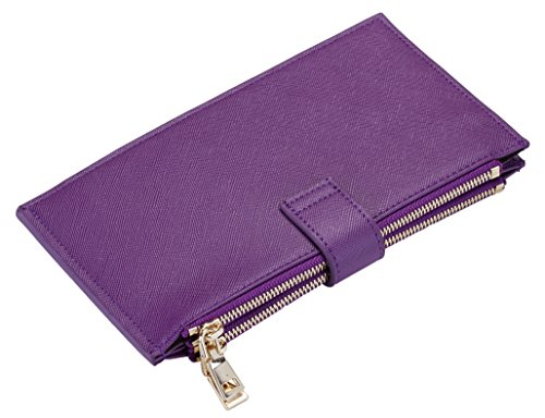 Travelambo Womens Walllet RFID Blocking Bifold Multi Card Case Wallet with Zipper Pocket (CH Purple Steel 5113) by Travelambo (Image #4)