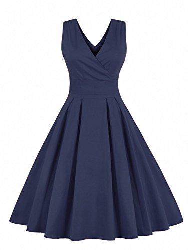 Babyonlinedress Vestido plisado largo cuello V sin mangas con lazo detrás vestido de fiesta para boca fiesta de coctel azul marino