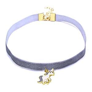 07c685cb4454 Scrox 1pcs Colgantes Mujer Plata Moda Choker Collares Unicornio Niña Joyas  para Mujer Ribbon Collar Corto Exquisito Regalos Originales (Gris)   Amazon.es  ...