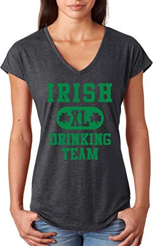 (St Patricks Day Irish Drinking Team Ladies Blend Vneck Dark Grey 2X 2XL Heather Dark Grey)