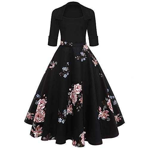 MoonHome Women Vintage Sleeve O Neck Evening Printing Party Prom Swing Dress 1950s Cocktail Dresses Bridesmaid Swing ()