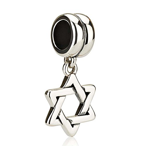 Of David Elegant Star Charm (Marina Jewelry 925 Genuine Sterling Silver Dangle Pendant Charm for 3mm Necklace or Snake Chain, Star Of David .7in)