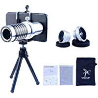 Apexel Camera Lens Kit 14x Manual Focus Telephoto Lens/ Fisheye Lens/ Wide Angle Lens/Macro Lens with Mini Tripod/ Hard Back Case for Samsung Galaxy S7 Edge
