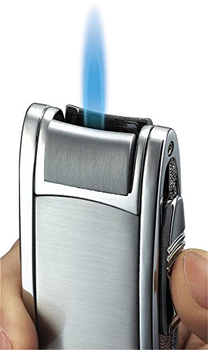 (Visol Cole Brushed and Polished Chrome Single Jet Flame Cigar/Cigarette Lighter)