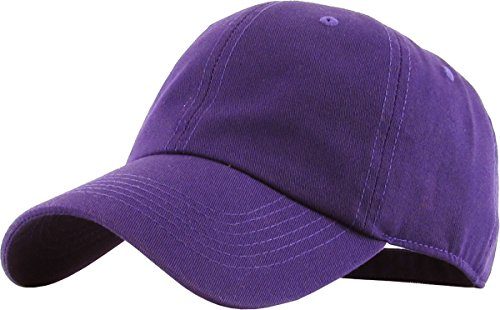 KB-LOW PUR Classic Cotton Dad Hat Adjustable Plain Cap. Polo Style Low Profile (Unstructured) (Classic) Purple ()