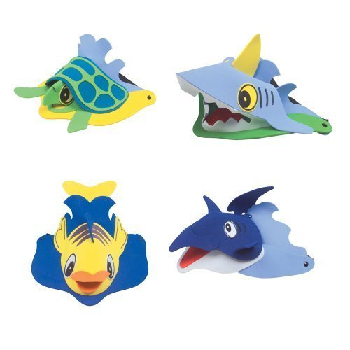~ 4 ~ Sea / Ocean Animal Visors ~ Foam ~ New ~ Dolphin, Turtle, Shark, Fish ()