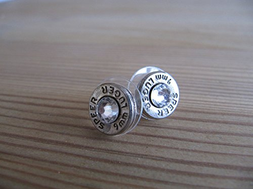 Nickle Accents - 9mm Earrings with Swarovski Crystal Accents - Bullet Jewelry- Small Bullet Earring - Crystal Bullet Earrings