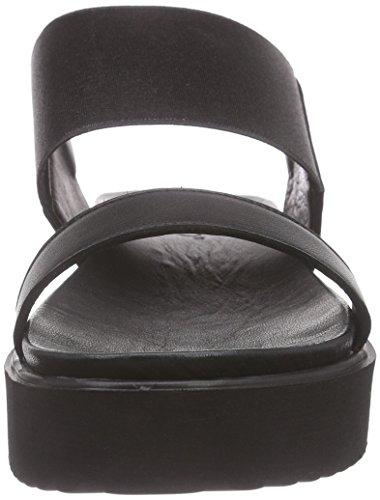 Schwarz Cinturino Scarpe black Lea Rubber a col Black Donna Inuovo con Nero Tacco 6001 T XOx57pUqvw