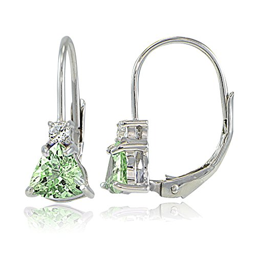 Trillion White Earrings - Sterling Silver Genuine Peridot & White Topaz Trillion-Cut Leverback Drop Earrings