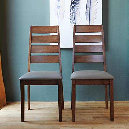 Ladder Back Dining Side Chair for Home Kitchen Dining Room, Solid Hardwood Restaurant Chair with Faux Leather Cushion, Series of Romania, Set of 2 (Walnut) (With Back Chairs Ladder Seats Rush)