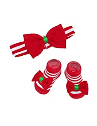 Rising Star Baby Girl's Holiday Headband and Sock Set