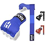 Hawk Padded Inner Gloves Training Gel Hand Wraps for Boxing Quick Wraps Men & Women Kickboxing Muay Thai MMA Bandages Fist Knuckle Wrist Protector Handwraps (Pair) (Blue, S/M)