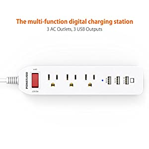 Poweradd 3-Outlet Power Bar 5 Feet Heavy Duty Extension Cord with 3 USB Charging Ports, White