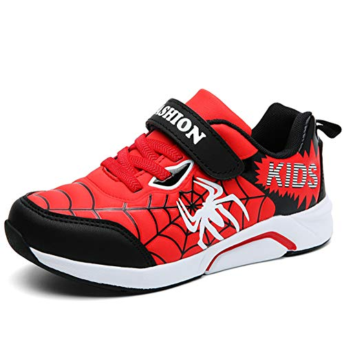 (Children Spider-Man Homecoming Boys Casual Shoes Velcro Slip on Sneaker(Red-31))