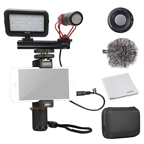 Movo Smartphone Video Kit V1 Vlogging Kit with Grip Rig, Shotgun Microphone, LED Light and Wireless Remote - YouTube Equipment Compatible with iPhone, Android Samsung Galaxy, Note and More (Best Equipment For Youtube)