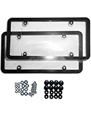 Brimstone 2 Sets License Plate Frame with Screw Caps,Licence Plate Cover Protector Suitable for Universal Canada Car Accessories