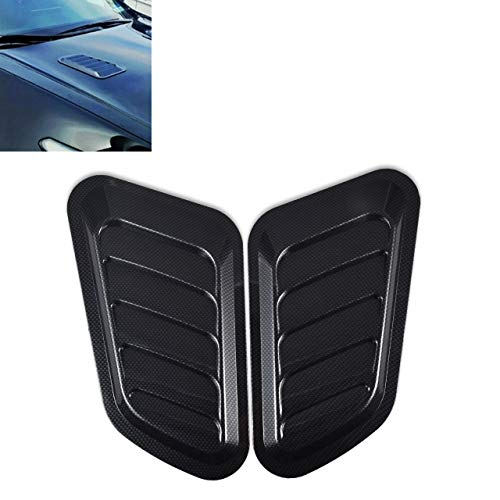 KaTur 1 Pair Universal Car ABS Decorative Air Flow Intake Scoop Turbo Bonnet Vent Cover Hood (Carbon ()