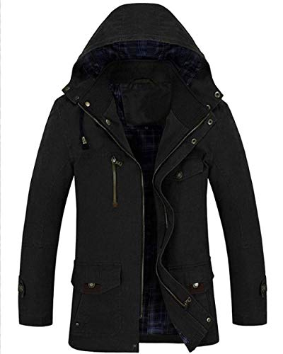 Zipper Schwarz Hooded Men's Coat Apparel Jacket Drawstring Jacket Outerwear Pockets with Coat Front with Sleeve Long pqAq0wU