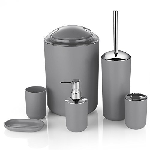 6 Pcs Plastic Bathroom Accessory Set Luxury Bath Accessories Bath Set Lotion Bottles, Toothbrush Holder, Tooth Mug, Soap Dish, Toilet Brush, Trash Can, Rubbish Bin (Grey) by Zuvo