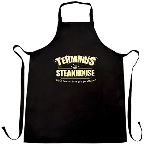 Zombie Chefs Apron Terminus Steakhouse Restaurant Logo Black One Size by Tim And Ted