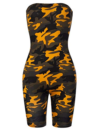 BEYONDFAB Women's Camo Strapless Back Lace Up Tube Jump Suit Mustard M