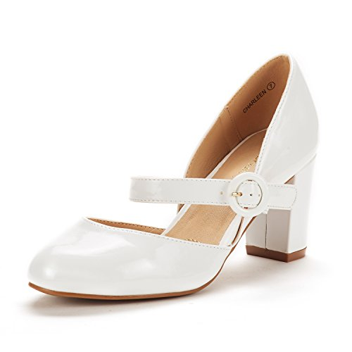 DREAM PAIRS Women's Charleen White Pat Classic Fashion Closed Toe High Heel Dress Pumps Shoes Size 5 M US