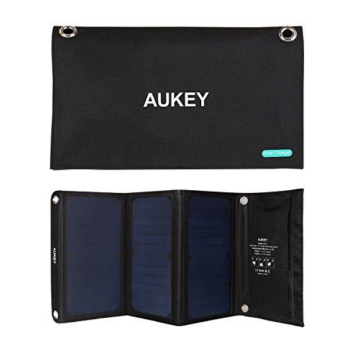 AUKEY Solar Ladegerät 21 W mit 2 USB Anschlüsse, 5V 2A Max für jeden Anschluss, Verwendung für iPhone 7/ 7Plus, HTC, LG, Nexus 6 und mehr