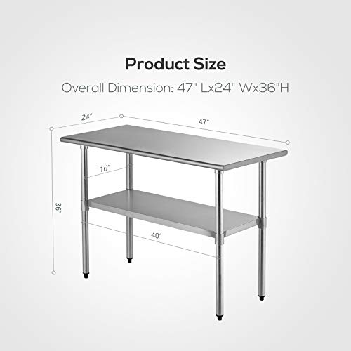 SUNCOO Commercial Stainless Steel Work Table Food Grade Kitchen Prep Workbench Metal Restaurant Countertop Workstation with Adjustable Undershelf 48 in Long x 24 in Deep by SUNCOO (Image #8)