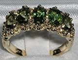 LetsBuyGold 10k .417 Yellow Gold Real Genuine Green Tourmaline Womens Band Ring