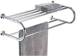 Organize It All Mounted Chrome Bathroom Shelf with Towel Rack