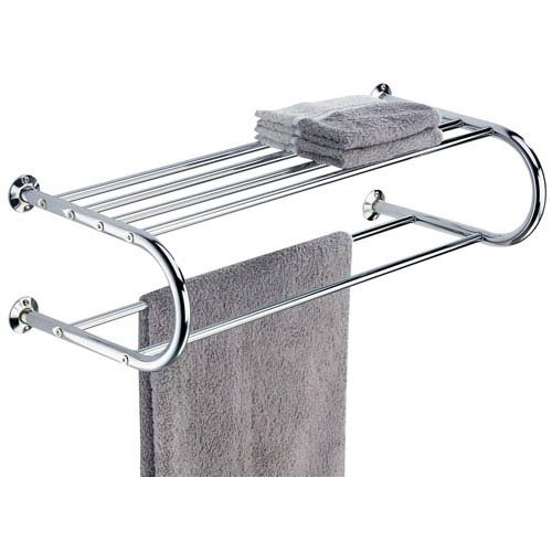 Organize It All Mounted Chrome Bathroom Shelf with Towel Rack Neu Home 1750W-1