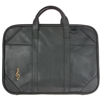 Gift House Briefcase Leather with Music G-Clef Embroidery /& Strap PrivateLabel