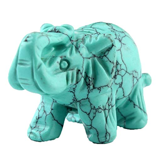 Figurine Stone Elephant (Green Turquoise Elephant 1.5Inches Statue Crafts Natural Stone Carved Figurine Chakra Carving Stones Healing Reiki Free Pouch (Turquoise))