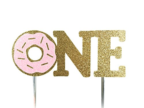 Handmade 1st First Donut Birthday Cake Topper Decoration - one - Made in USA with Double Sided Gold Pink Glitter Stock