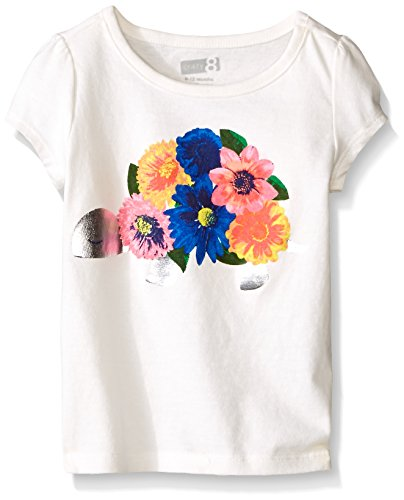 Crazy 8 Little Girls' Toddler Turtle Flower Graphic Tee, Jet (Ivory Flower Shirt)