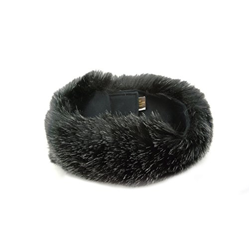 Fur Winter Faux Fox Raccoon Mink Fur Headwrap Headband Earwarmer Hat BLKST