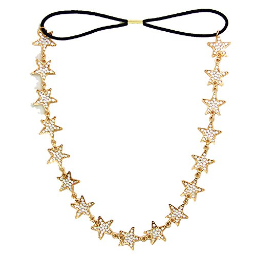 JoJo & Lin Rhinestone Star Gold Tone Hairband Headpiece Chain Wedding Hair Accessories Jewelry (Gold Tone) -