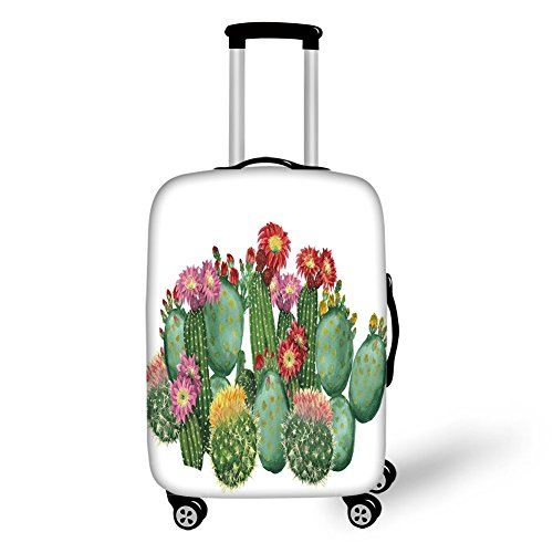 Suitcase Protector,Cactus Decor,Saguaro Barrel Hedge Hog Prickly Pear Opuntia Tropical Botany Garden Plants Decorative,Multicolor,for Travel ()