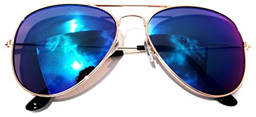 NYMSM Classic Mirrored Flat Lens Sunglasses Metal Frame Sunglasses , 100% UV400 - Kanaha Sunglasses