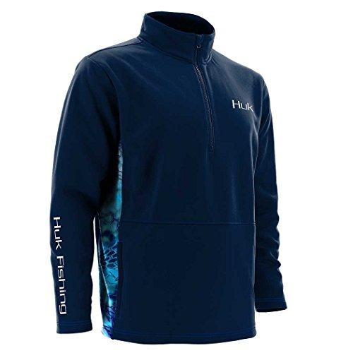Huk Fleece 1/4 Zip Long Sleeve, Navy, X-Large ()