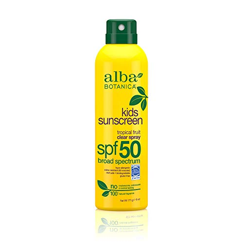 Alba Botanica Tropical Fruit Clear Spray Kids SPF 50 Sunscreen, 6 oz.