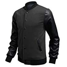 Elonglin Mens Casual Sport Bomber Jacket Faux Leather Long Sleeves