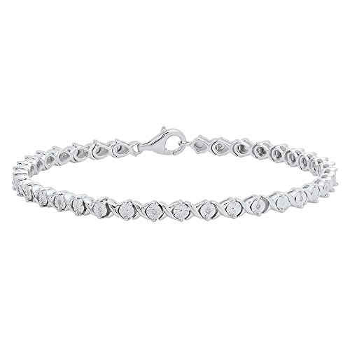 0.10 Carat (ctw) Sterling Silver Round Cut White Diamond Ladies XO Shape Tennis Bracelet 1/10 CT