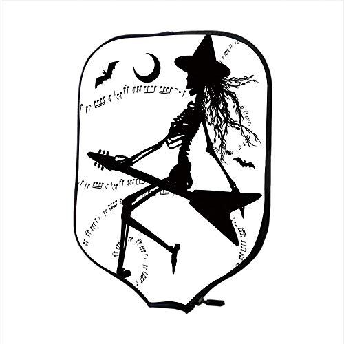 iPrint Neoprene Pickleball Paddle Racket Cover Case,Music,Witch Flying on Electric Guitar Notes Bat Magical Halloween Artistic Illustration,Black White,Fit for Most Rackets - Protect Your -