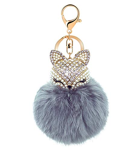 PG ONE Rabbit Ball Keychain with Rhinestone Fox Head Keyring for Womens Bag or Cellphone or Car Pendant 1PC (Grey)