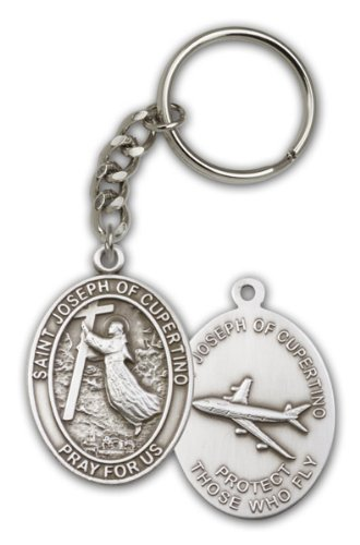 - bliss Pewter Saint St Joseph of Cupertino Keychain, Patron Saint of Pilots & Airforce,silver tone,1 7/8