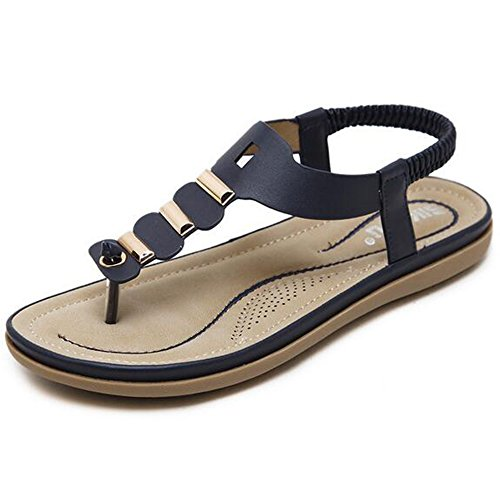 SUNAVY Damen Böhmen Weich Sommer Flach Sandalen Mit Bling Metall-Dekoration Peep-Toe Slip-On Flip-Flops Zehentrenner (EU34 - EU41) Blau